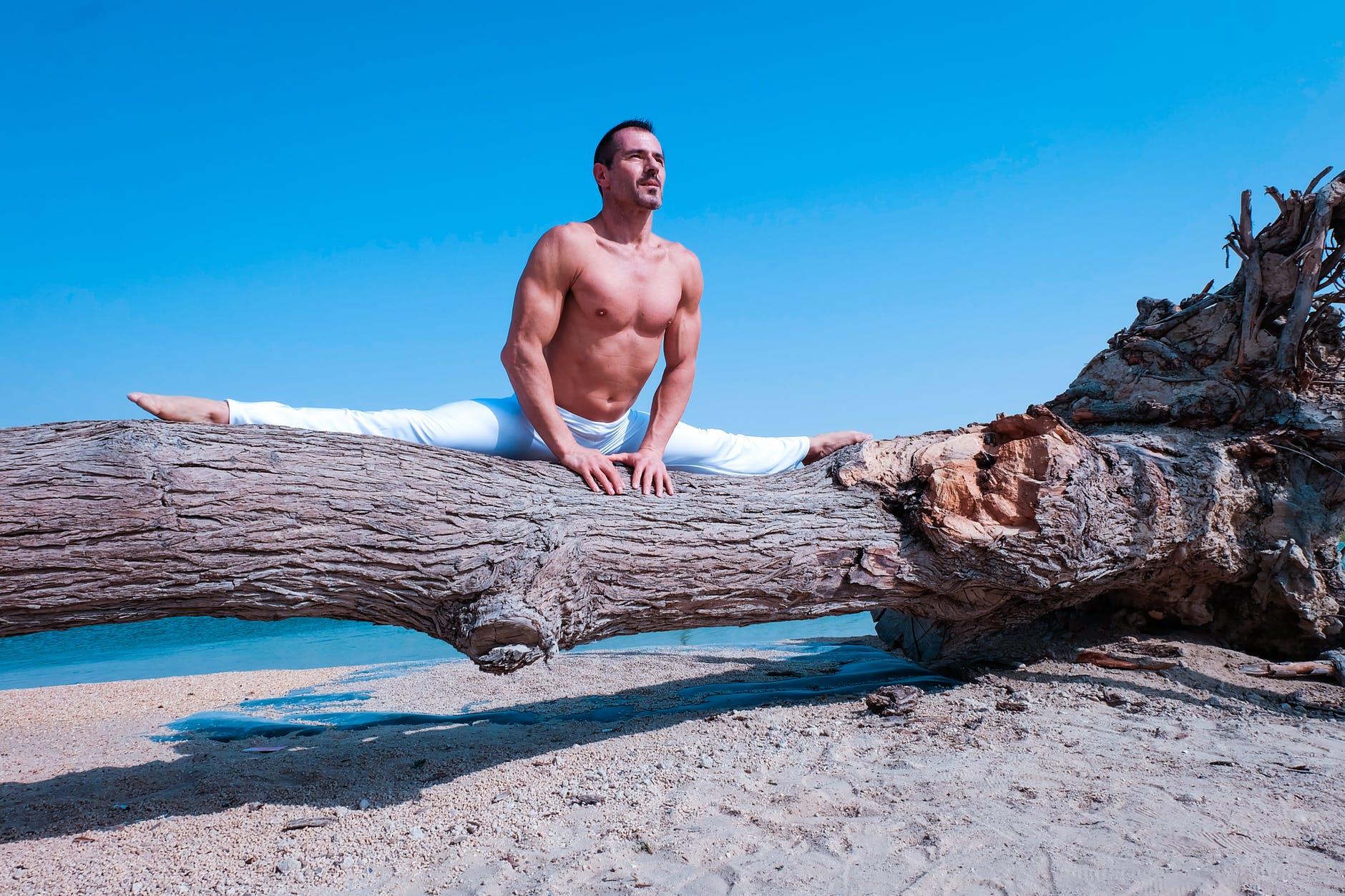 man splitting on tree